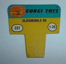 No. 237, Police Oldsmobile 88, 1960's US Corgi Toys Shop Display Price Ticket