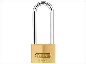 ABUS 65/50mm Brass Padlock 80mm Long Shackle Keyed Alike 6504 ABUKA12020