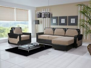 Image Is Loading Brand New Modern Fabric Corner Sofa Bed Dallas