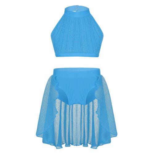 Girls Lyrical Dance Mesh Dress Contemporary Ballet Dance Costume Leotard Skirt