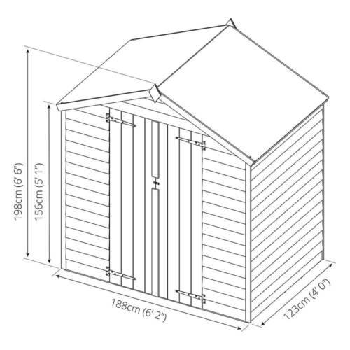 6x4 WOODEN OVERLAP GARDEN STORAGE SHED WINDOWLESS DOUBLE DOORS APEX ROOF 6ft 4ft