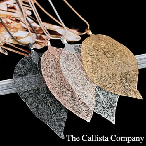 CHOICE OF 4-COLORS PLATED REAL LEAF NECKLACE FOR WOMEN Details about  /THE CALLISTA COMPANY