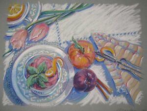 ORIGINAL-Barbara-Maslen-039-SORBET-039-DESSERT-Pastel-ILLUSTRATION-Painting-Listed