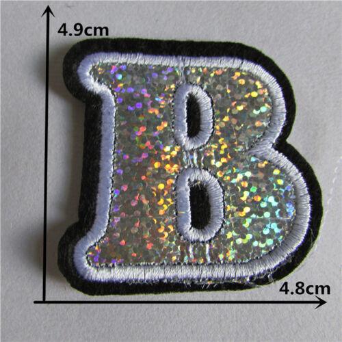 ÉCUSSON PATCH thermocollant LETTRE ALPHABET BLANC ARGENT SCINTILLANT 5 cm *