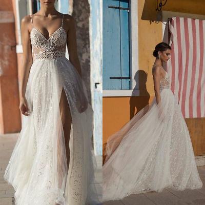 Boho Beach Wedding Bridal Dresses Side Split Sexy Bohemian Bride Gowns Custom Ebay