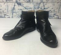 Bally Ankle Boots Black Leather Men's 9 Made in Italy