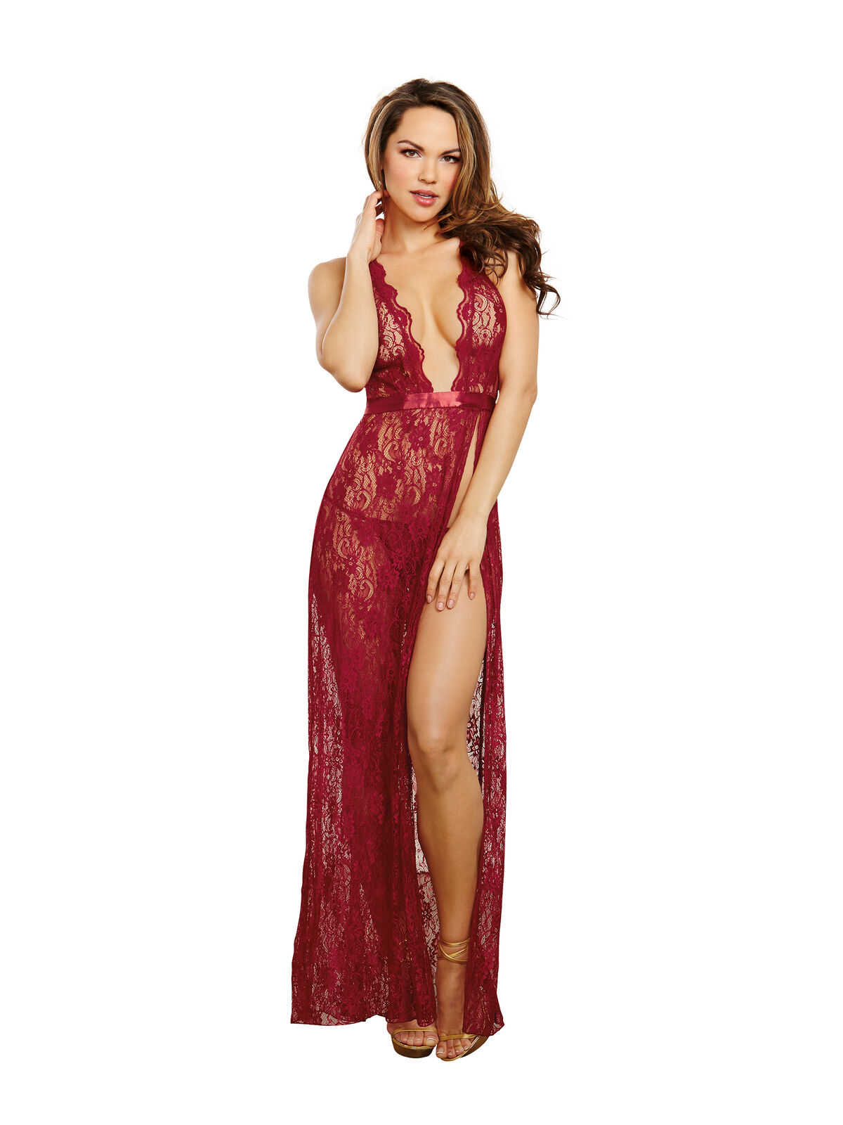 Dreamgirl Garnet Red Lace Womens Long Gown & G-String Set Sexy Ladies Nightwear
