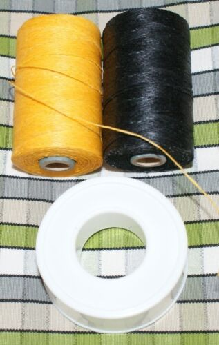 Yellow Unwaxed /& Black Waxed hemp /& PTFE Tape for Highland Bagpipes