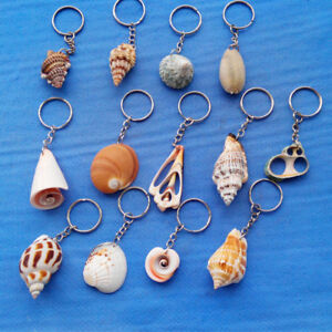 Natural-Sea-Conch-Shell-Charm-Pendant-Keychain-Key-Ring-Handmake-Crafts-Jewelry