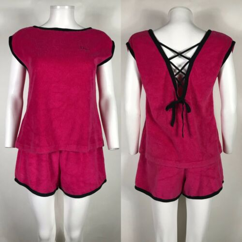 Rare Vtg Christian Dior Pink Terry Cloth Logo Top