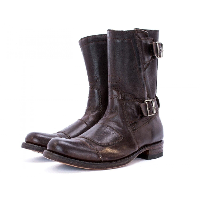 Sendra 8279 Unisex botas de vaquero occidental de cuero marrón oscuro Biker hecho a mano