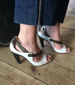 Derek-Lam-White-Bronze-Brown-Leather-Gladiator-High-Heels-Shoes-Made-In-Italy-38