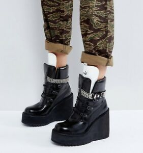 Puma X Fenty SB Wedge Black RIHANNA Mid Ankle Sneaker Combat Boot Sz ... 03040e03c