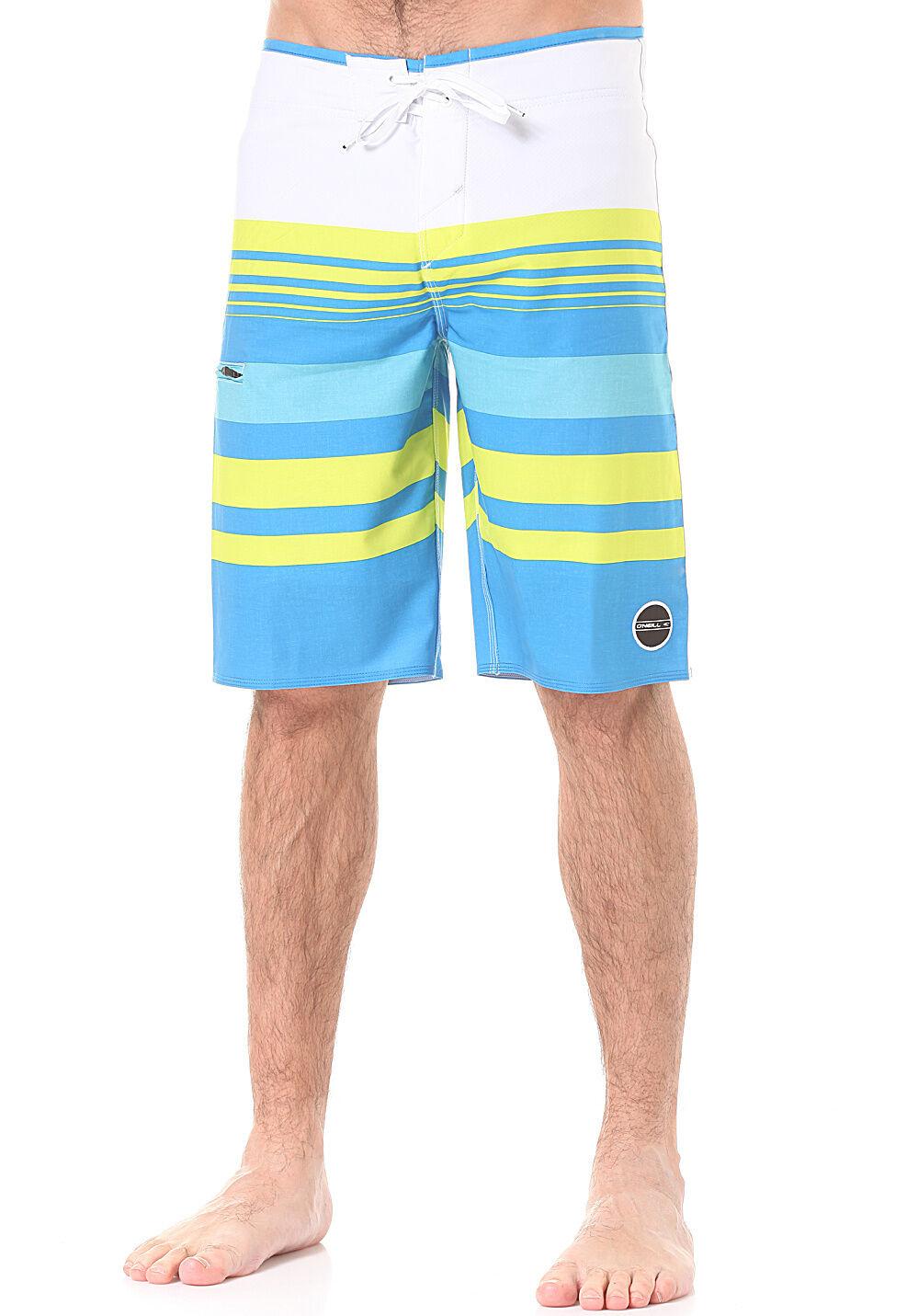 O'NEILL board shorts HYPERFREAK Heist bluee yellow stripe 32 34 36 full length