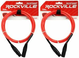 2-Rockville-RCXFM6P-R-Red-6-039-Female-to-Male-REAN-XLR-Mic-Cable-100-Copper