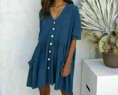 Short Sleeve Ladies Loose Dresses Blouse Solid Summer Women/'s Party Dress Short