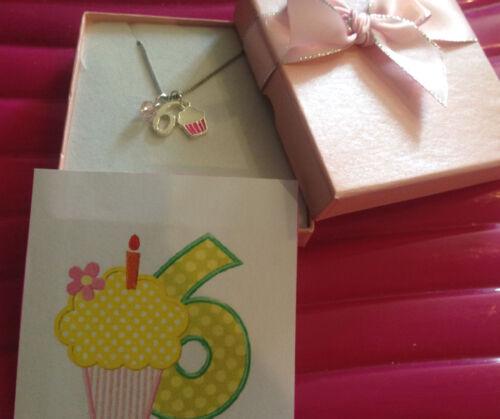 girls daughter cute cake 6th birthday age 6 necklace keep sake in GIFT BOX