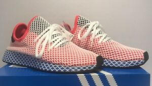 44dfea18c79b8 Adidas Mens Size 13 Originals Deerupt Runner Solar Red Blue Bird ...