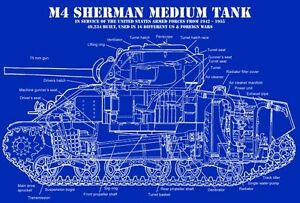 Wwii us m4 sherman tank technical blueprint cutaway poster art large image is loading wwii us m4 sherman tank technical blueprint cutaway malvernweather Images