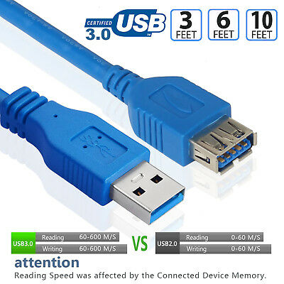 USB 3.0 Extension Cable Extender Cord 6Ft Type A Male to Female 5Gbps fr Hub LOT