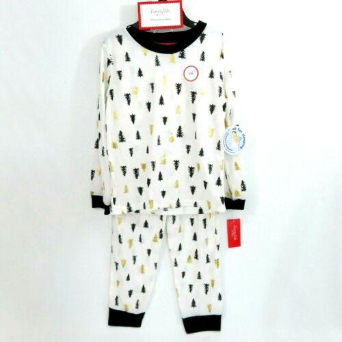 Macys Family Pajamas White Black Gold Tree Print 2Pc Knit Pajama Set Size 2T-3T