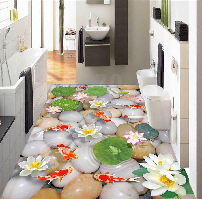 3D acqua pietra pesce Pavimento Foto Wallpaper Murales Muro Stampa Decalcomania