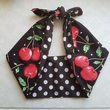 Polka Dot Cherry Negro 50s estilo rockabilly, Pin Up, Bandana Diadema, Hairband