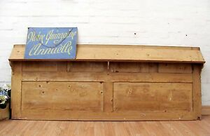 HUGE-ANTIQUE-PINE-CHURCH-PANEL-WITH-BOOK-REST-PERFECT-COUNTRY-KITCHEN-SPLASHBACK