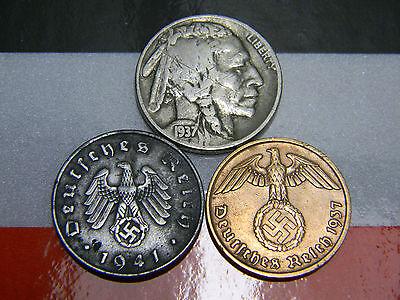 WW2 German Coins 1925-1930 Standing Liberty Silver Quarter US German Lot