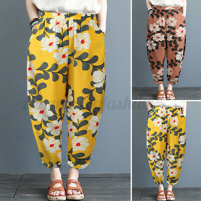 ZANZEA 8-24 Women Printed Floral Trousers Vintage Belted High Waist Chino Pants