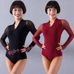 Latin-Rumba-Samba-Dance-Leotards-Tops-Practice-Bodysuit-Salsa-Ballroom-Dancewear