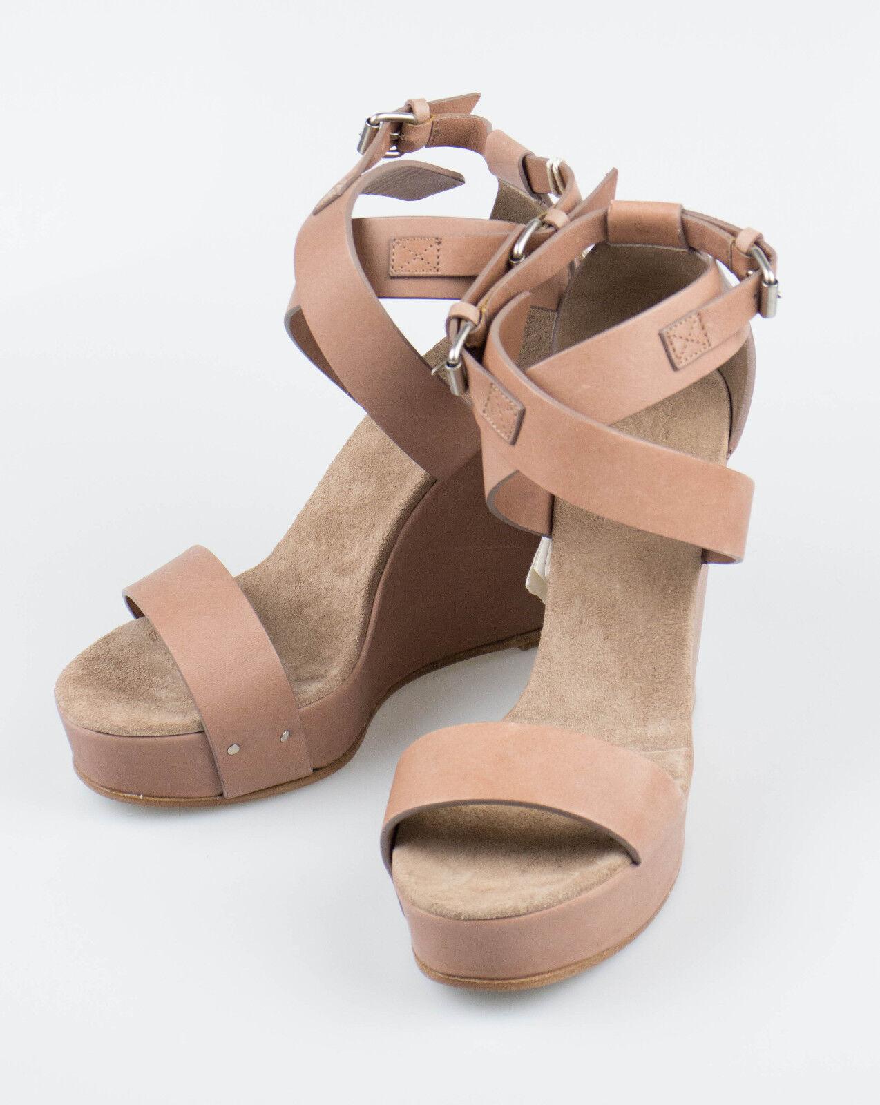 New. BRUNELLO CUCINELLI braun Leather Leather Leather Open Toe Wedge Heels schuhe 9 39  1150 4e5e33