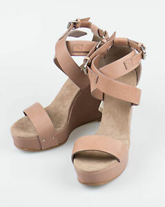 New. BRUNELLO CUCINELLI Schuhes Braun Leder Open Toe Wedge Heels Schuhes CUCINELLI 9 ... 29a1e7