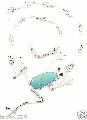 TAXCO MEXICAN STERLING SILVER TURQUOISE FROG NECKLACE MEXICO