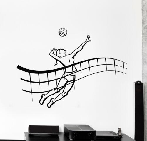 g430 Vinyl Wall Decal Girl Player Volleyball Game Ball Beach Sport Stickers