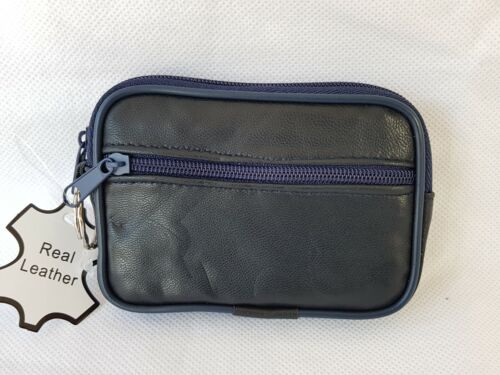 LADIES COIN PURSE REAL LEATHER Soft Nappa Mini Clutch Style With Key Holder Zip