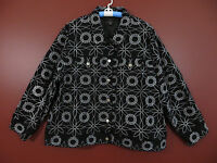 CJ00143- SILK LAND Women 100% Cotton Jacket Black w/ White Floral Embroidery 3X