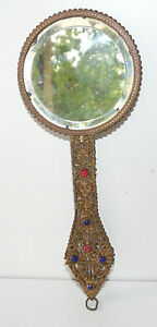Mirror-IN-Hand-Brass-Early-20th-Back-Enamelled