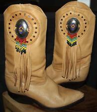 Vintage Women ZODIAC WESTERN COWBOY BOOTS FRINGE BEADED INDIAN SOUTHWEST USA 7 M