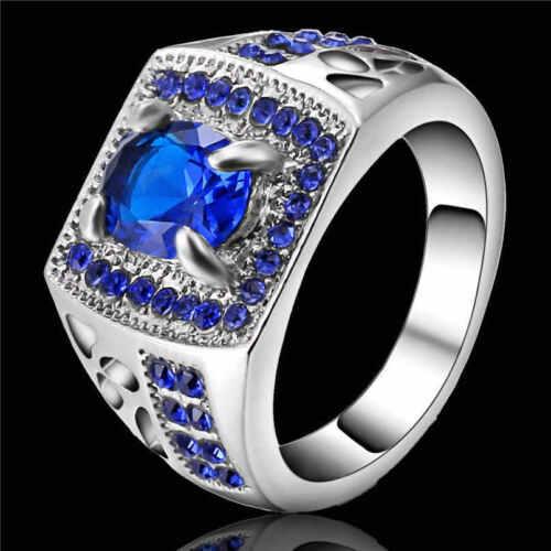 New Fashion Jewelry Saphir Bleu Blanc Rhodium Plaqué Anneau Mariage