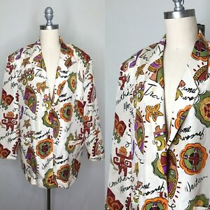 Vintage-80s-Carol-Horn-Silk-Graphic-Southwestern-Blazer-Size-Large-AS-IS