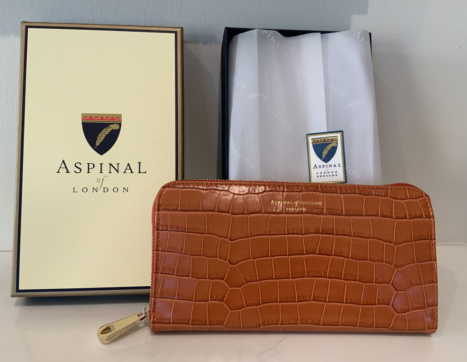 New Gift Box Large Aspinal Of London Continental Marmalade Croc. Purse RRP