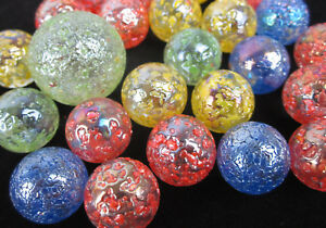 25-Glass-Marbles-STAR-DUST-Speckled-Glitterbomb-red-green-yellow-blue-Shooter
