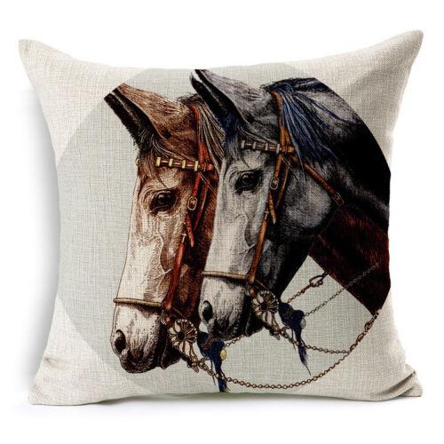 bulldog /& horse Cotton Linen Pillow Case Sofa Cushion Cover Fashion Home Decor