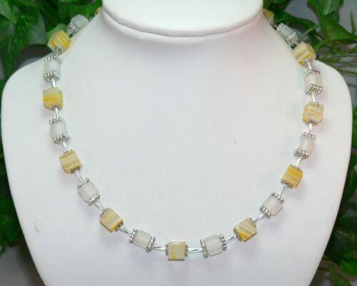 Cadena cadena de cubo Millefiori discreta farbspiel amarillo blanco 254p