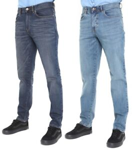 Mens-Tapered-Jeans-Casual-Regular-Slim-Fit-Plain-Denim-Work-Jeans