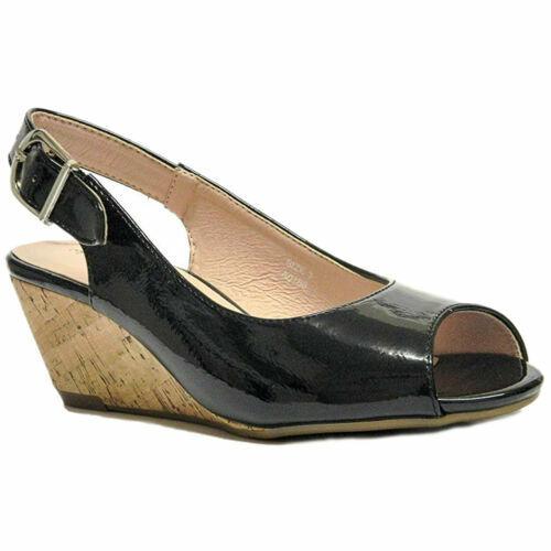 Femme Noir Verni Bout Ouvert Confort Plus Large Fit Wedge Sandales UK 3-8 Alaska