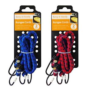 """4 x 72/"""" 9mm Bungee Cords Straps Hooks Elasticated Ropes Car Bike Red Tie Luggage"""