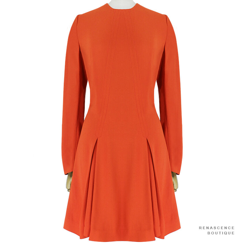 Stella McCartney Elegant Deep orange Crepe Ingreened Pleat Skirt Dress IT40 UK8