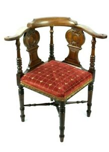 Antique-Edwardian-Carved-Oak-Corner-Chair-FREE-Shipping-5097